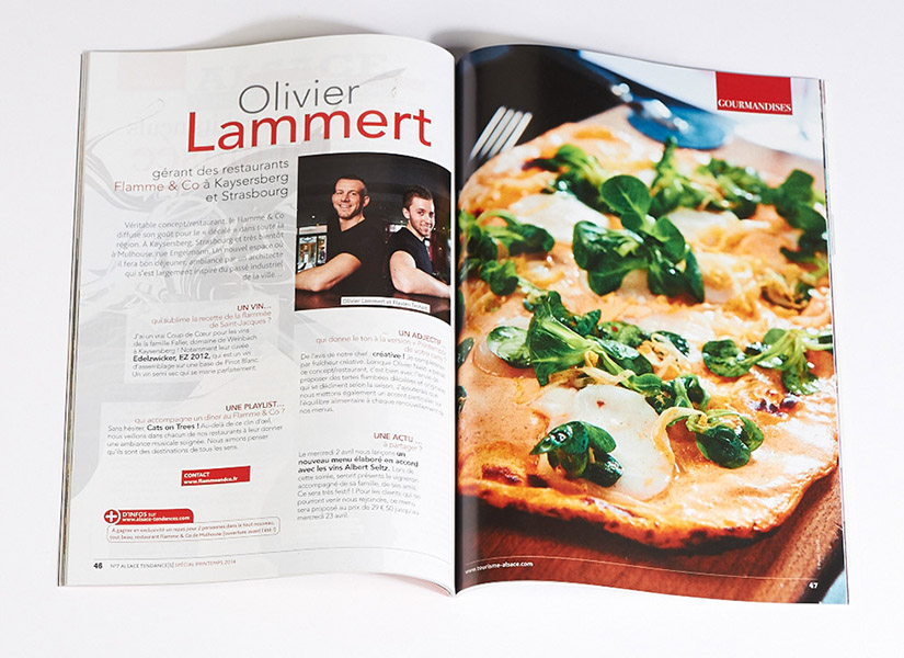 photo de tarte flambée et portrait